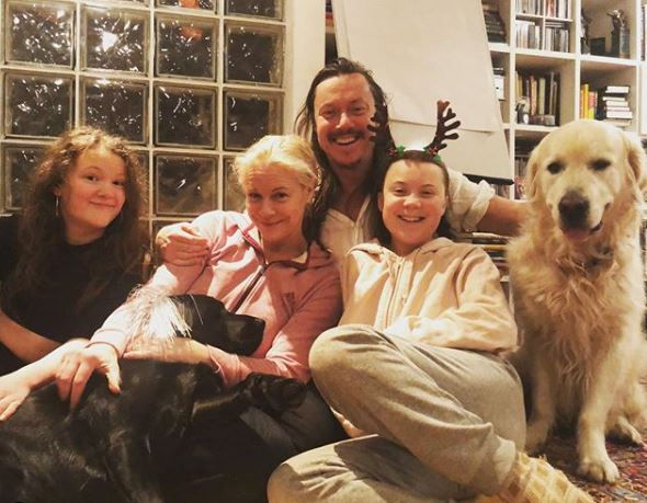 Greta Thunberg with Parent/s}}