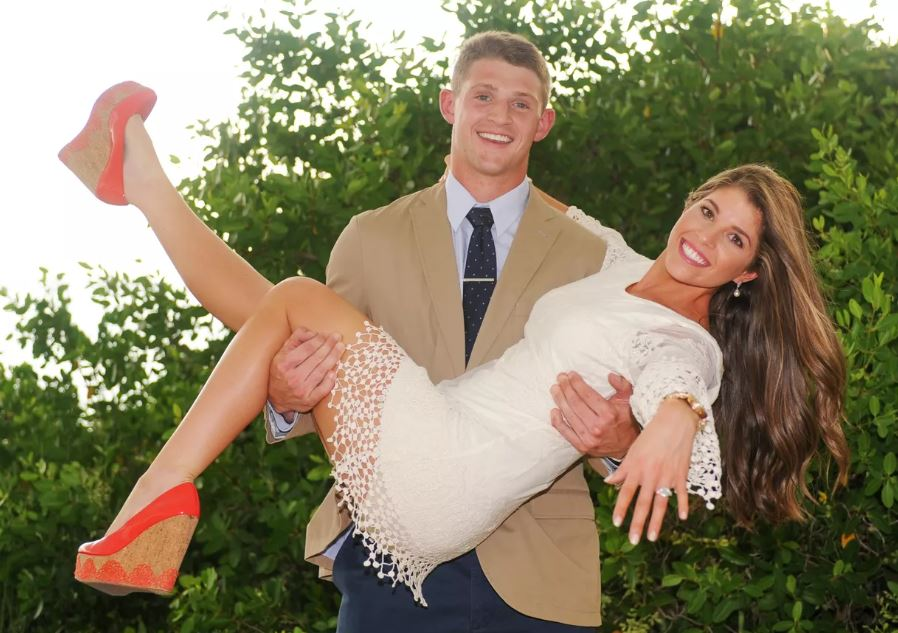 Jeff Driskel with his wife, Tarin Moses. | Source: registry.theknot.com