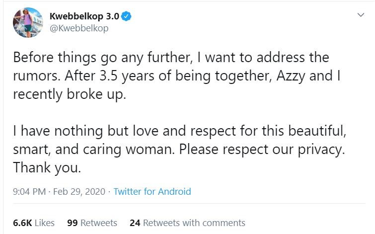 Kwebbelkop announces their break up on February 29, 2020. | Source : Twitter