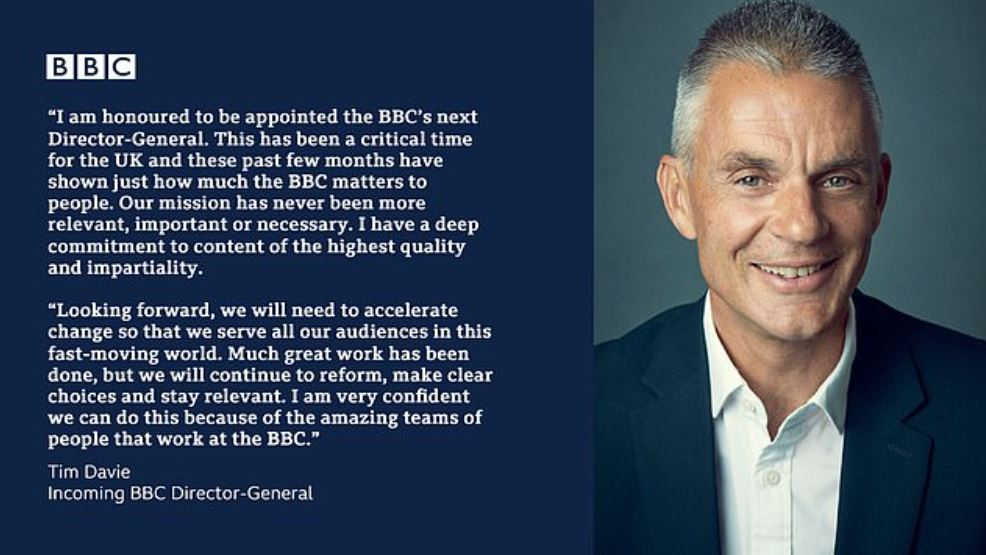 Tim Davie was appointed as BBC's Director General. | Source: Dailymail.co.uk
