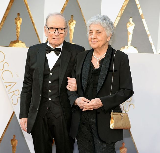 Maria Travia with her husband, Ennio Morricone. | Source: gettyimages.com