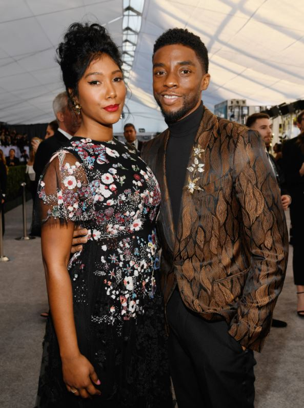 Taylor Simone Ledward with her late husband, Chadwick Boseman. | Source: popsugar.com