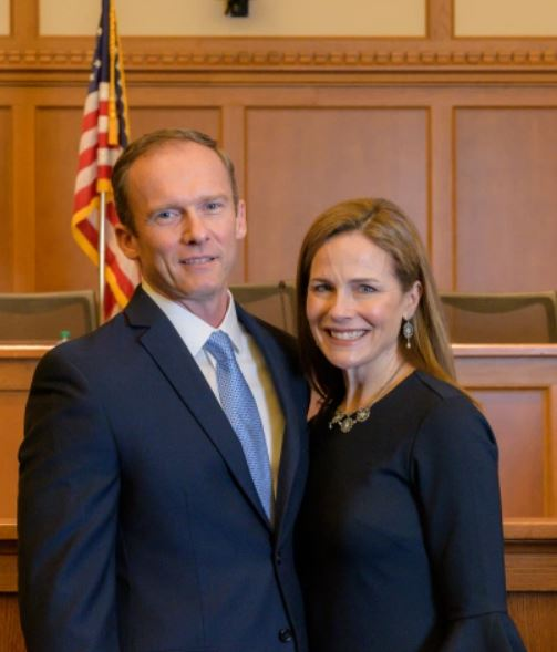 Jesse M. Barrett with his wife, Amy Coney Barrett. | Source: the-sun.com
